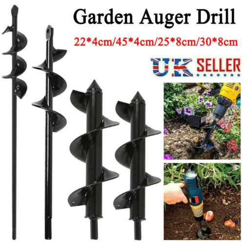 3 Sizes Planting Auger Spiral Hole Drill Bit Garden Yard Earth Bulb Planter UK