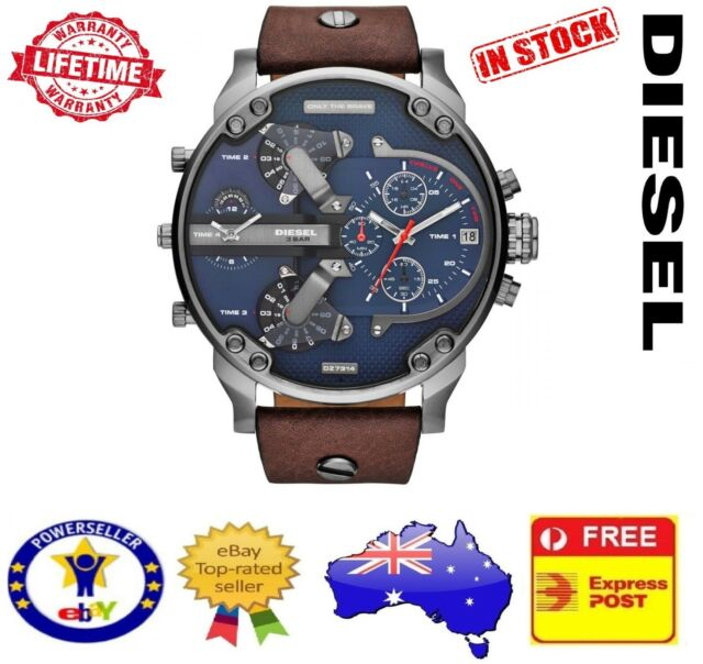 DIESEL DZ7314 MR DADDY 2.0 Brown Leather Multiple Time Zone Chrono Mens Watch