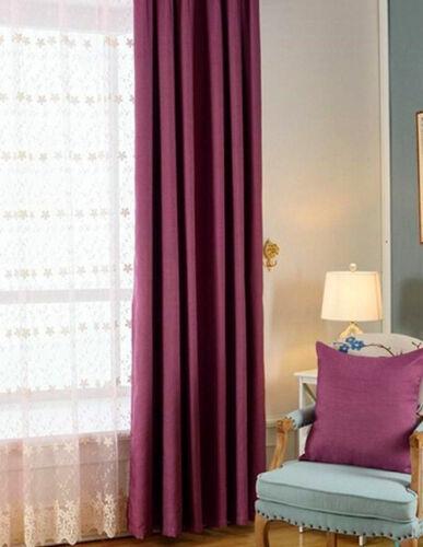 Quality Eyelet Top Linen Velvet 80/% Blockout Curtains Dark Magenta Purple Violet