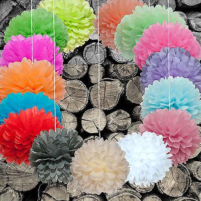 DIY PomPoms 3/5/10er Set 30cmØ, Hochzeit, Papierblume, PomPon, in versch. Farben