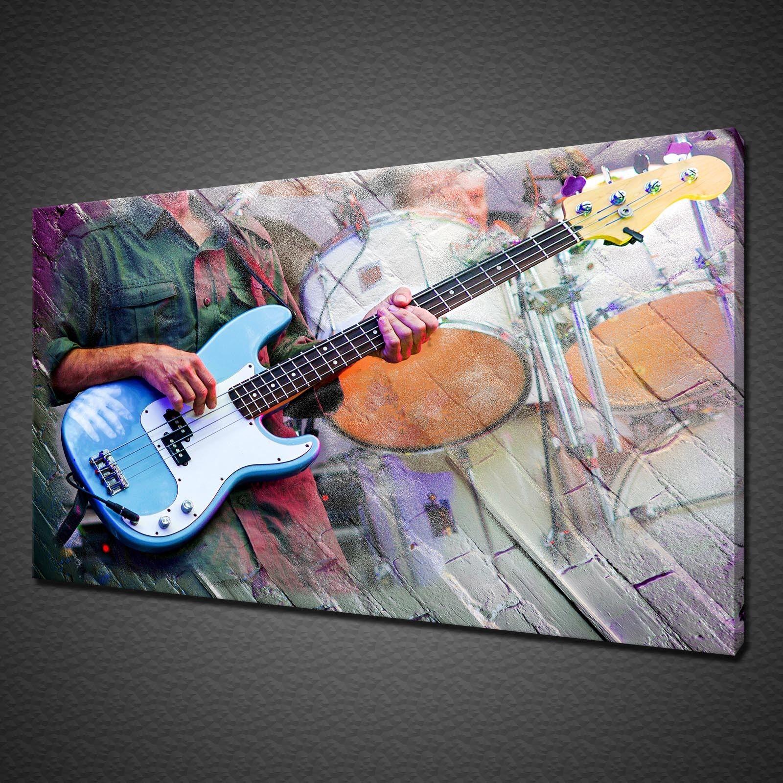 GUITAR DRUMS MUSICIANS CANVAS PICTURE PRINT WALL ART MODERN DESIGN