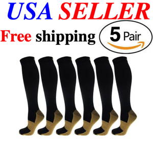 5-Pairs-Copper-Fit-Energy-Knee-High-Compression-Socks-SM-L-XL-XXL-Free-Ship-USA