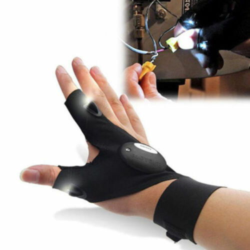 Auto LED Light Finger Lighting Flashing Gloves Outdoor Electrician Repair Work~