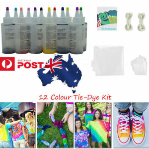 12-Colour-Bottle-Tie-Dye-Kit-40-Rubber-Band-4-Pairs-Vinyl-Gloves-DIY-Kit-LG