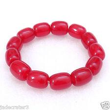 Tibet Candy Red Jade Beads stretch Bracelet US SELLER