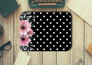 Flowers and Polka Dots Mouse Pad Easy Glide Non Slip Heat Resistant Neoprene