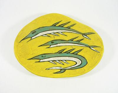 1950/'S ART POTTERY ! Black /& Yellow Striped Retro Wall Plate 9 Gorka Livia