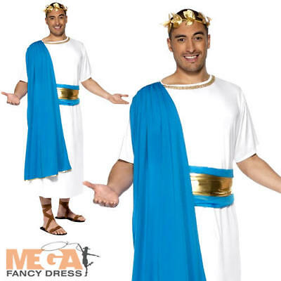 Mens Roman Senator Fancy Dress Julius Cesar Greek Grecian Historical Costume