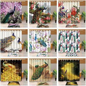 Peacock-Flowers-Bathroom-Waterproof-Fabric-Shower-Curtain-Bath-Mat-Multi-pattern