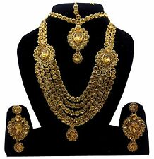 Polki kundan stone Indian bridal Necklace earring matha pati Set wedding jewelry