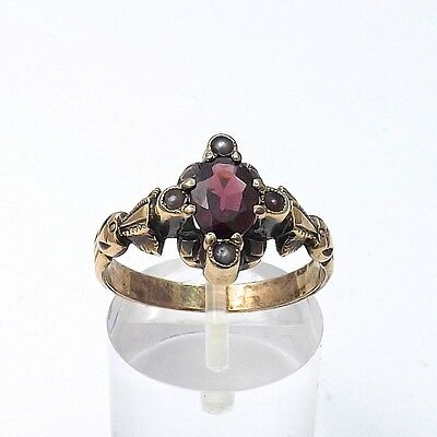 Victorian 10k Roe Gold 1ctw Garnet Seed Pearl Ornate Ring Sz 7.75
