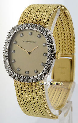 Audemars Piguet Vintage 18k Gold Diamond Bezel & Dial Womens Windup Watch