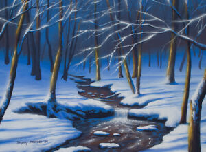Original Acrylic Painting Winter Waterfall 12x16 Landscape by Timothy Stanford