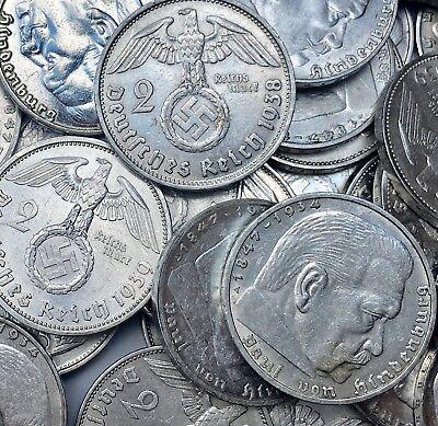 Rare WW2 German 2 Reichsmark Hindenburg Nazi Silver Coin Circulated Condition