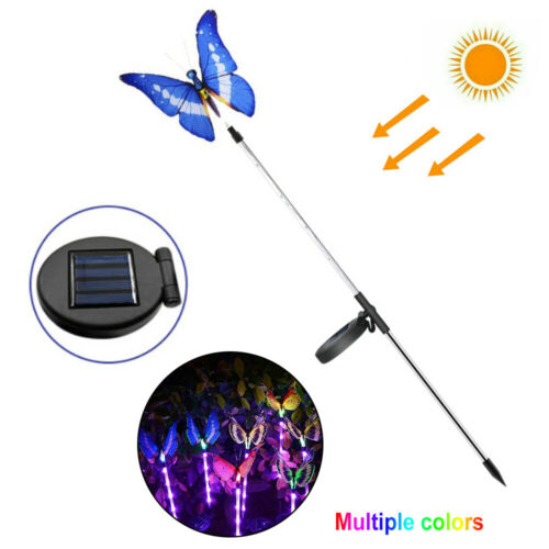 3pcs LED Solar Powered Butterfly Lights Yard Garden Color Changing Pathway Lamp