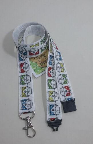 New White VW campervan ribbon lanyard safety clip ID badge holder gift idea