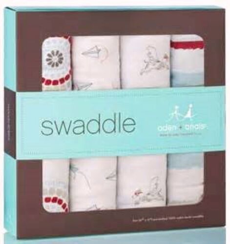 ADEN & ANAIS 4 Pack Cotton Baby Boys SWADDLE - LIAM THE BRAVE DOG Puppy