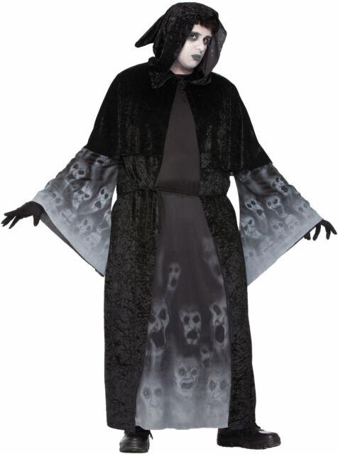 Mens Forgotton Souls Costume Black Hooded Robe Halloween Adult Plus Size