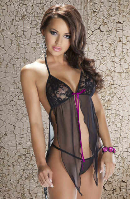 9a42bf2cb3 Black Lace Babydoll Sexy Sheer Nightwear Plus Size 18-20 Avanua Lingerie  Set UK