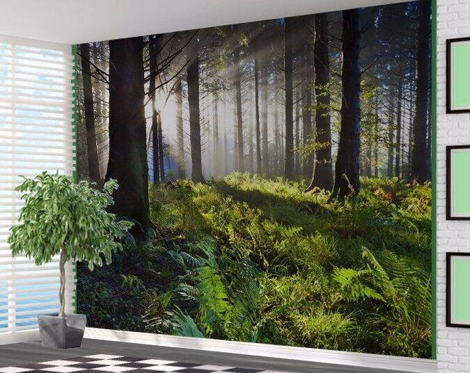 Lush Grün Wald mit Sunlight Stechen Through Tapeten Wandbild (18993927)