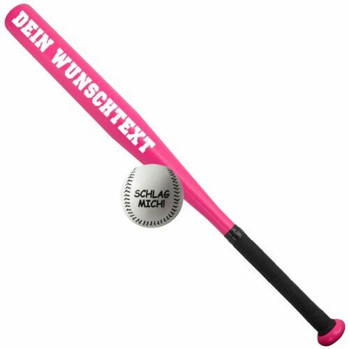 Sportset Baseballschläger mit WUNSCHTEXT deiner Wahl mit Ball in 3 Farben