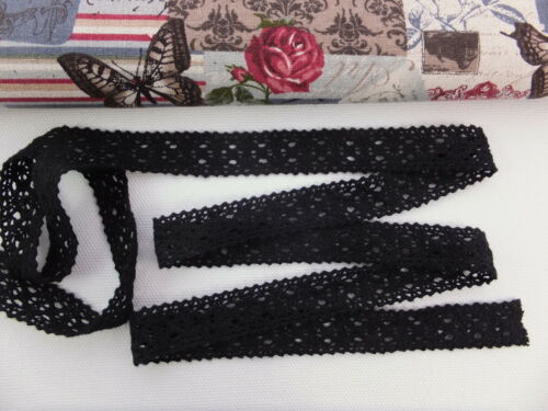Lace Trim 001-2cm wide Crochet Cotton Ribbon Vintage Natural Ecru per metre