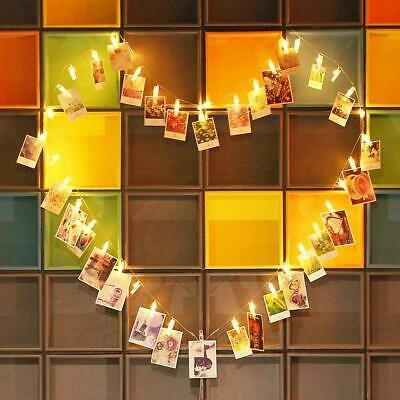 LED Photo Clip String Lights 10//40//50 Hanging Peg Clips Fairy Christmas Cards