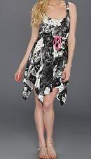 Roxy Logo Blk/Wht Flower Design Pink Trim Asymmetrical Hem Dress