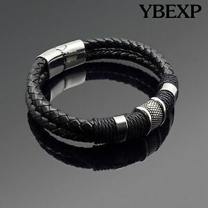 Men-039-s-Stainless-Steel-Leather-Bracelet-Magnetic-Silver-Clasp-Bangle-Black