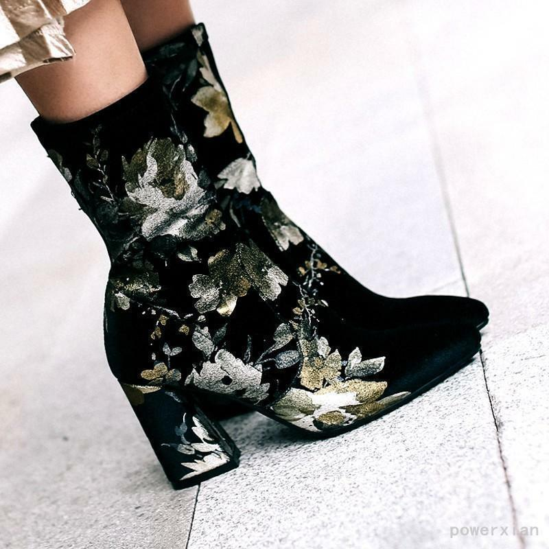 Womens High Heel Velvet Floral Printing Casual New Mid Calf Boots Casual Shoes