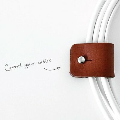 Personalised Leather Cable Tidy Tie - Made in England