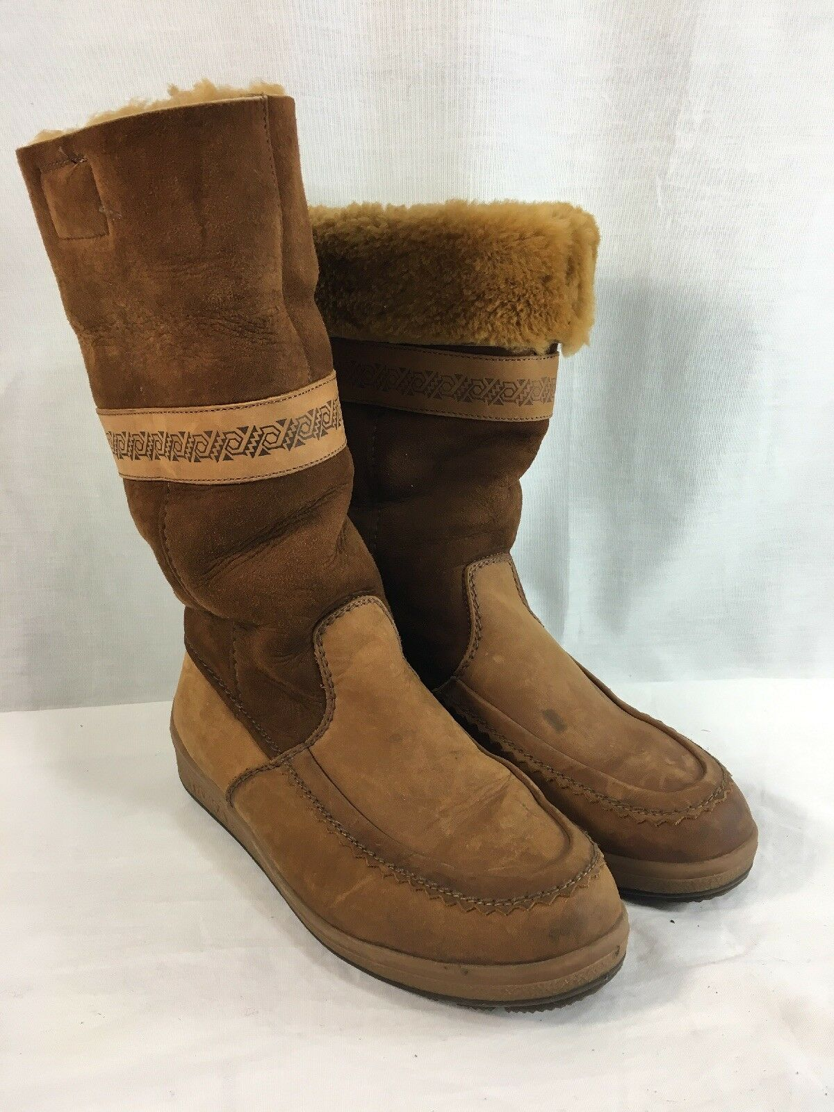 Tecnica Boots Womens 9.5 Brown Suede Leather Sherpa Lined Aztec Print