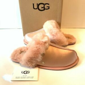 WOMEN-039-S-UGG-pantofole-taglia-UK-6-Scuffette-SATIN-PINK-slip-on-in-scatola-USA-8-EU-39