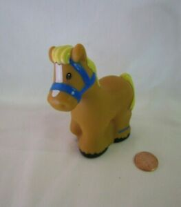 Fisher-Price-Little-People-LIGHT-BROWN-HORSE-BRIDLE-Animal-Farm-Zoo-Farmer