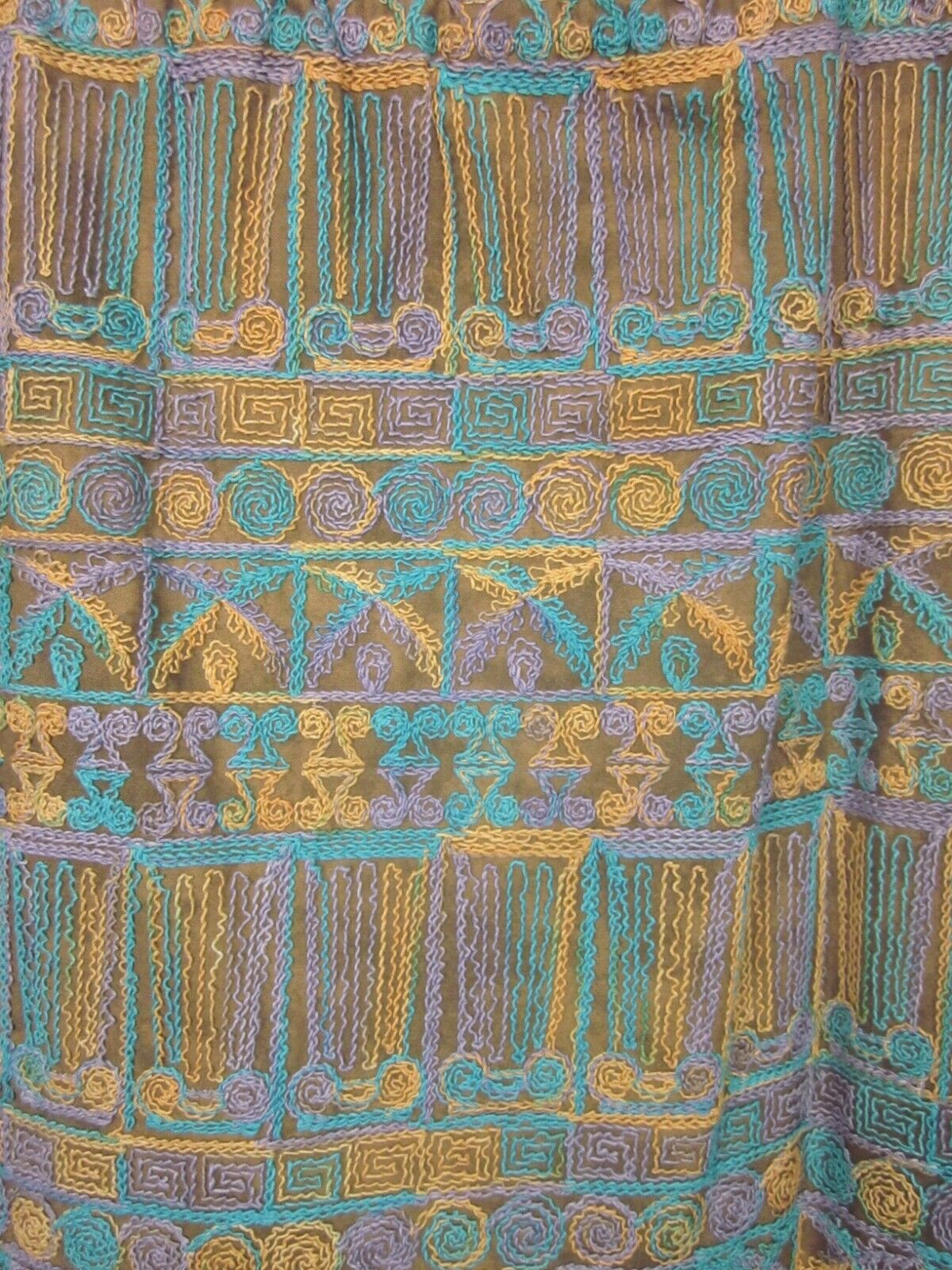 Vintage 70s Beverly Paige Embroidered Maxi Skirt Boho Hippie Yarn Fringe Hem