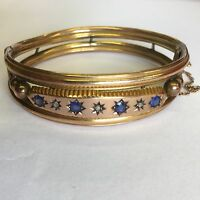 Antique Sapphire And Diamond Solid 9ct Rose Gold Bangle Chunky 13.7g A/F 1904