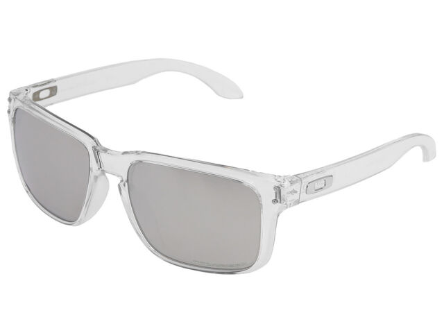 51192505b47d3 Oakley Holbrook Sunglasses Polished Clear Chrome Iridium Polarized 9102-94