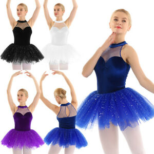 Womens-Adult-Sequins-Back-Velvet-Ice-Skating-Leotard-Dress-Ballet-Dance-Costume