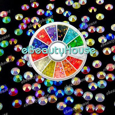 12 Colors 3D Nail Art Multicolor Illusion Glitter Rhinestone +Wheel #001K
