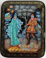 Russian Lacquered Box Hand Painted Artist Signed Winter Couple Blizzard Nice