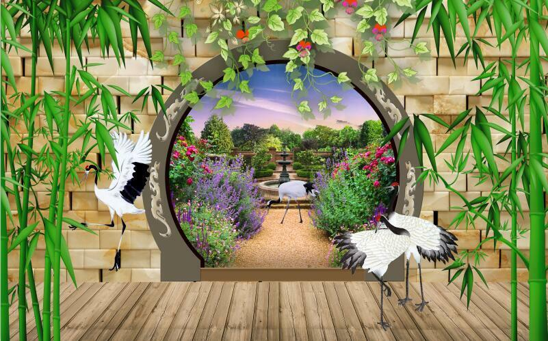 3D Bamboo Natural Animal view Wall Paper Print Decal Wall Deco Indoor wall Mural