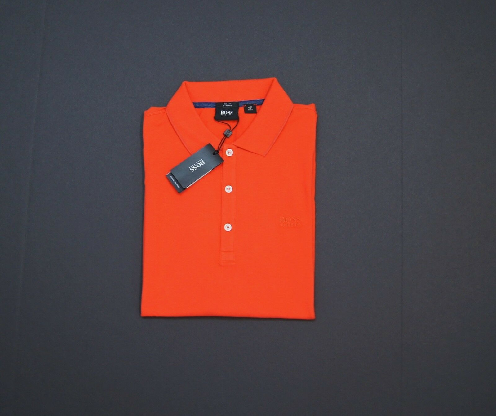 HUGO BOSS 'Forli 15' Slim Fit Stretch Cotton Polo Shirts Medium orange NWT
