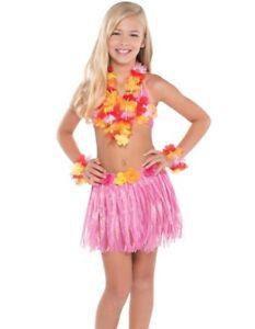 Pink Hula Grass Skirt Lei Flowers Shell Bra Hawaiian Girl Fancy