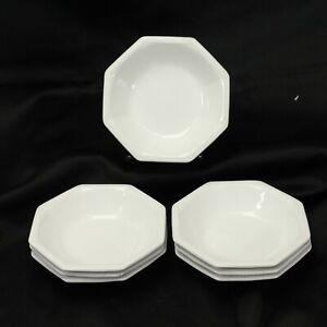 Johnson-Bros-Ironstone-Octagon-Beaded-White-Fruit-Berry-Bowls-5-25-034-Lot-of-7
