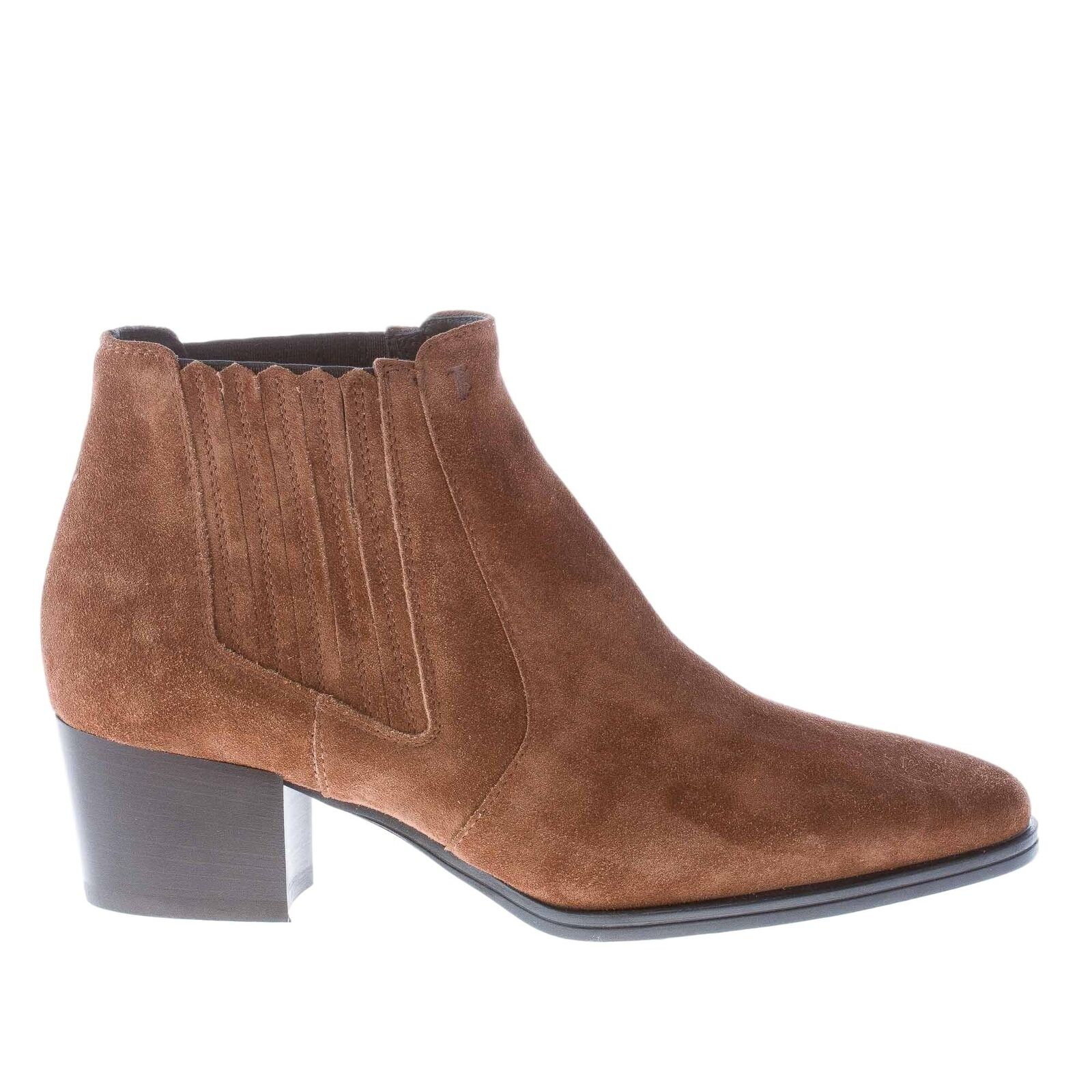 TOD'S damen schuhe braun suede pointy toe ankle Stiefel elasticated insets heel 5 cm