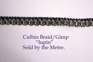 """Old Gold /& Blue Upholstery Braid /""""Grampian Bluebell/"""" 18 mm sold by the Metre"""