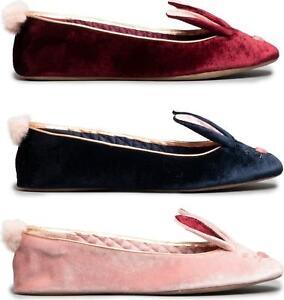 46fb1a4b8540 Ted Baker BHUNNI Ladies Womens Velvet Novelty Rabbit Soft Ballerina ...