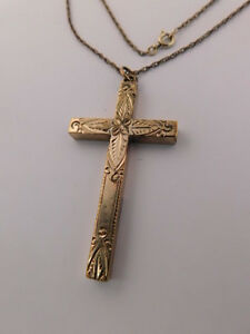 14K-ETCHED-CHASED-GF-CROSS-PENDANT-NECKLACE-GOLD-FILLED-BEAUTIFUL-DESIGN