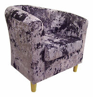 Tub Chair In Lavender-lilac Crushed Velvet Fabric