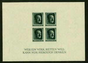 Germany 1937 Hitler 48th Birthday imperf sheet MNH